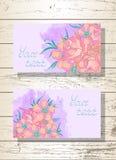 Wektorowy ustawiający szablonów kartka z pozdrowieniami z lub zaproszenia kwiatami, różami i akwarela elementami ręki rysującymi, royalty ilustracja