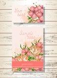 Wektorowy ustawiający szablonów kartka z pozdrowieniami z ręka rysującymi kwiatami lub zaproszenia, róże ilustracja wektor