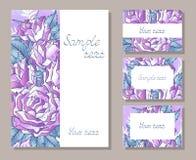 Wektorowy ustawiający szablonów kartka z pozdrowieniami z ręki rysować różami lub zaproszenia ilustracji