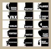 Wektorowy ustawiający szablon dla wizytówek na temacie instrumenty muzyczni, radio, dyskoteka ilustracji