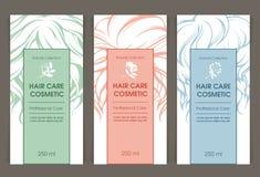 Wektorowy ustawiający szablony barwi pakujący włosianej opieki kosmetyka ilustracji