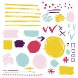Wektorowy ustawiający szczotkarskie tekstury i elementy ilustracja wektor