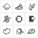 Wektorowy Ustawiający tanich sił roboczych ikony Buty, elektronika, Ubraniowy przemysł, informatyka, smartphone, oszczędzanie, he ilustracja wektor