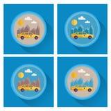 Wektorowy ustawiający taxi miasto odizolowywający nad drapacz chmur biały Płaski projekt Fotografia Royalty Free