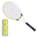 Wektorowy ustawiający tenisowi kanty i tenisowe piłki Odizolowywający na bielu royalty ilustracja