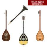 Wektorowy ustawiający tradycyjni tureccy instrumenty muzyczni w mieszkanie stylu ilustracji