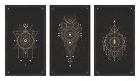 Wektorowy ustawiający trzy ciemnego tła z geometrycznymi symbolami, grunge teksturami i ramami, Abstrakcjonistyczny święty i ilustracji