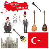 Wektorowy ustawiający tureccy symbole w mieszkanie stylu ilustracji