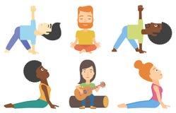 Wektorowy ustawiający turyści i ludzie ćwiczy joga ilustracji