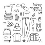 Wektorowy ustawiający ubrania, buty i torebki kobiet, ilustracji