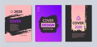 Wektorowy ustawiający uderzenie pokrywy projekt Purpury, menchie, czerń kolory Ulotka, broszurka, magazyn, plakatowy grunge royalty ilustracja