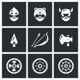Wektorowy Ustawiający Viking broni ikony Głowa, mężczyzna, hełm, Ax, dzida, łęk i strzała, osłona Zdjęcie Royalty Free