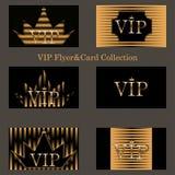 Wektorowy ustawiający VIP karty z złotą folią ilustracja wektor
