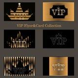 Wektorowy ustawiający VIP karty z złotą folią, diamenty ilustracja wektor