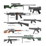 Wektorowy ustawiający wojsko walki bronie Ikony odizolowywać na białym tle Pistolet, karabiny, maszynowy pistolet Zdjęcia Stock