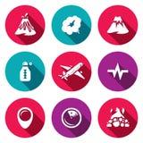 Wektorowy Ustawiający wulkan ikony Erupcja, dym, wzgórze, temperatura, samolot, Sejsmiczny, lokacja, monitorowanie, krater royalty ilustracja