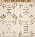 Wektorowy ustawiający złociste dekoracyjne granicy, rama Obraz Royalty Free
