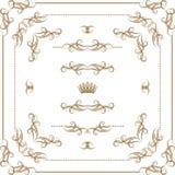 Wektorowy ustawiający złociste dekoracyjne granicy, rama Fotografia Stock