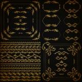Wektorowy ustawiający złociste dekoracyjne granicy, rama Zdjęcia Royalty Free