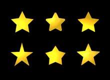 Wektorowy Ustawiający Złote gwiazdy, Błyszczący Zaznacza set Odizolowywającego royalty ilustracja