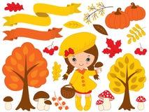 Wektorowy Ustawiający z Ślicznymi małej dziewczynki i jesieni elementami Zdjęcia Stock