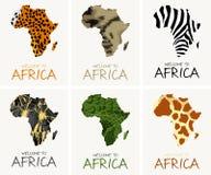 Wektorowy ustawiający z afrykańską tekstury mapy ilustracją royalty ilustracja