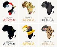 Wektorowy ustawiający z afrykańskimi tekstury mapy ilustracjami ilustracja wektor