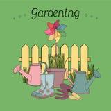 wektorowy ustawiający z pinwheel, podlewanie puszki, ogrodowi narzędzia, ogrodzenie na zielonym tle Ilustracji