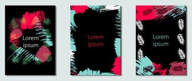 Wektorowy ustawiający z projekt kartami, grunge tropikalni ornamenty Szablony dla witać, zaproszenie kart, ulotek, przyjęcia, wak royalty ilustracja