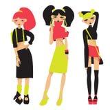 Wektorowy ustawiający z uroczymi ulicznymi mod dziewczynami w jaskrawym lecie odziewa w neonowych kolorach Spódnic, wierzchołka i ilustracja wektor