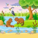 Wektorowy ustawiający z zwierzętami i naturą w dziecka ` s stylu Obrazy Royalty Free