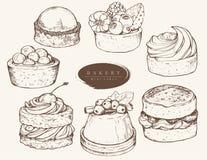 Wektorowy ustawiający asortowani ciasta ilustracji