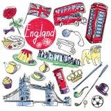 Wektorowy ustawiający atrakcje turystyczne Anglia ilustracji