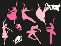 Wektorowy ustawiający baletniczych tancerzy sylwetki Obrazy Royalty Free