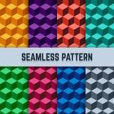 Wektorowy ustawiający bezszwowi geometryczni wzory w isometric Zdjęcie Stock