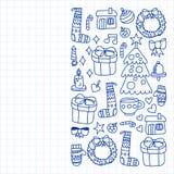 Wektorowy ustawiaj?cy bo?e narodzenia, wakacyjne ikony w doodle projektuje Maluj?cy, rysuj?cy z pi ilustracja wektor