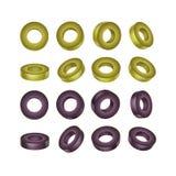 Wektorowy Ustawiający czerni i zieleni Pokrojone oliwki Zdjęcie Royalty Free