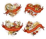 Wektorowy ustawiający cztery serca dla twój projekta ilustracji