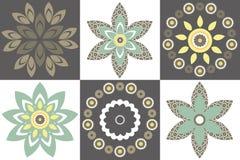 Wektorowy ustawiający dekoracyjni kwiaty Zdjęcia Royalty Free