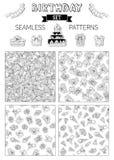 Wektorowy ustawiający doodles urodzinowi bezszwowi wzory Zdjęcie Royalty Free