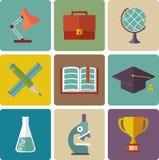 Wektorowy Ustawiający edukacj ikony Zdjęcia Stock