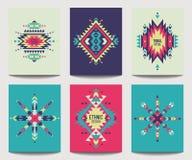 Wektorowy ustawiający geometryczne abstrakcjonistyczne kolorowe ulotki projekt etniczny Obrazy Royalty Free