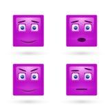Wektorowy ustawiający glansowani Emoticons Obraz Royalty Free