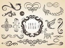 Wektorowy ustawiaj?cy kaligraficzni projekt?w elementy wzywa dekoracj?, satysfakcji gwarancji etykietka, kaligraficzne ramy Set royalty ilustracja