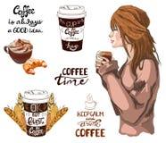 WEKTOROWY ustawiający kawowi tematu rocznika elementy Zdjęcie Stock