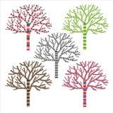 Wektorowy ustawiający kolorowi drzewa Obrazy Stock