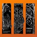 Wektorowy ustawiający kredowi lasu vertical sztandary Zdjęcia Stock