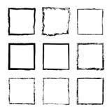 Wektorowy ustawiający kwadratowy rama atrament 2 ilustracja wektor