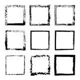 Wektorowy ustawiający kwadratowy rama atrament 1 ilustracja wektor