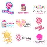 Wektorowy ustawiający logowie dla cukierków, cukierku sklep, butik, sklep Zdjęcie Royalty Free
